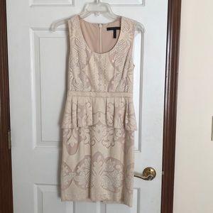 BCBGMaxaria Cream and Nude Peplum Dress